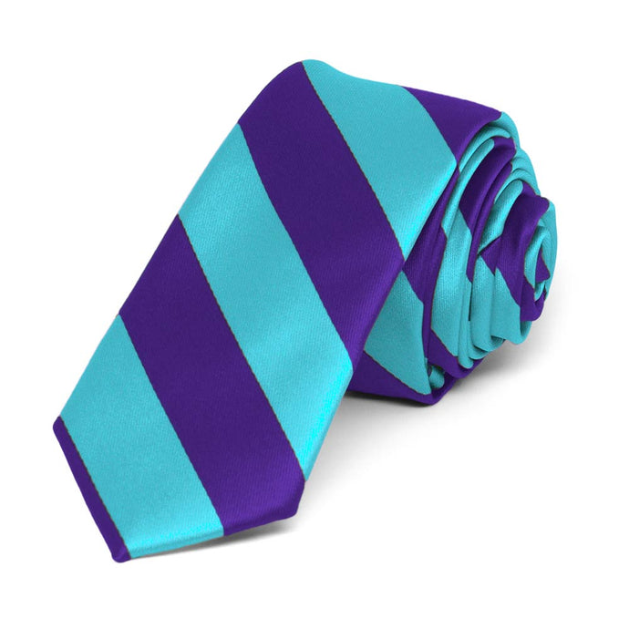 Dark Purple and Turquoise Striped Skinny Tie, 2
