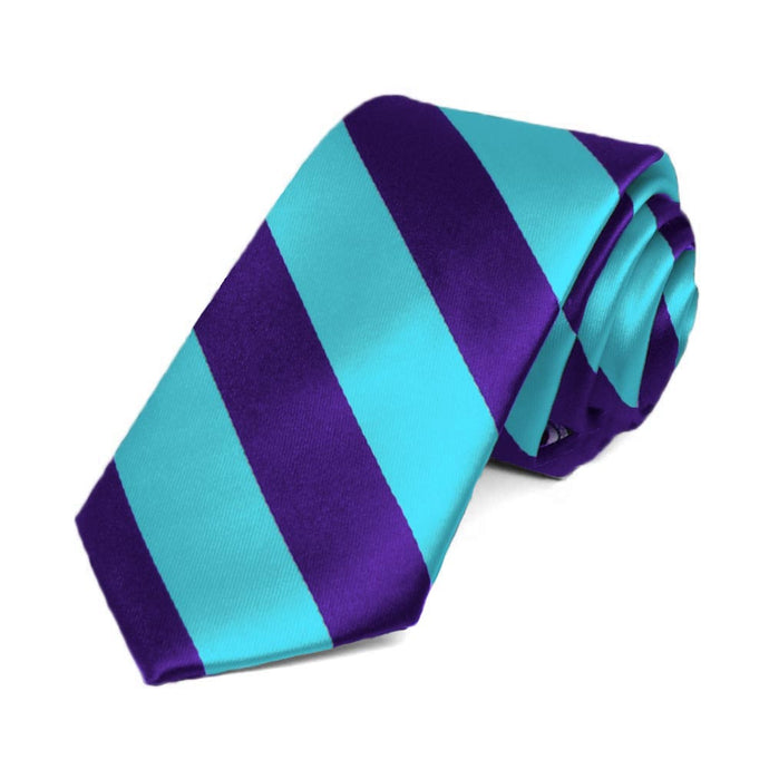 Dark Purple and Turquoise Striped Slim Tie, 2.5