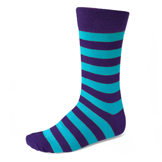 Men's Dark Purple and Turquoise Striped Socks