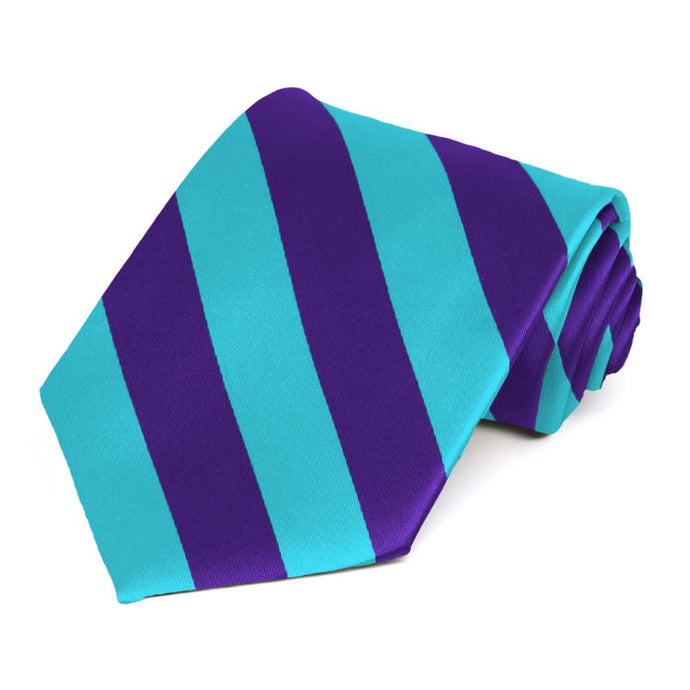 Dark Purple and Turquoise Striped Tie