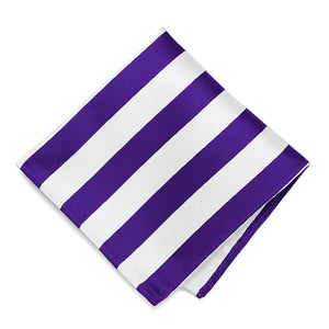 Dark Purple and White Striped Pocket Square