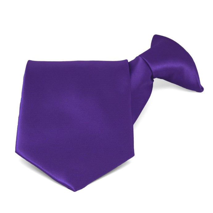 Dark Purple Solid Color Clip-On Tie