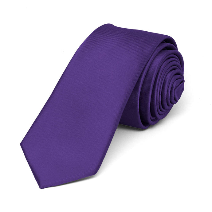 Dark Purple Skinny Solid Color Necktie, 2