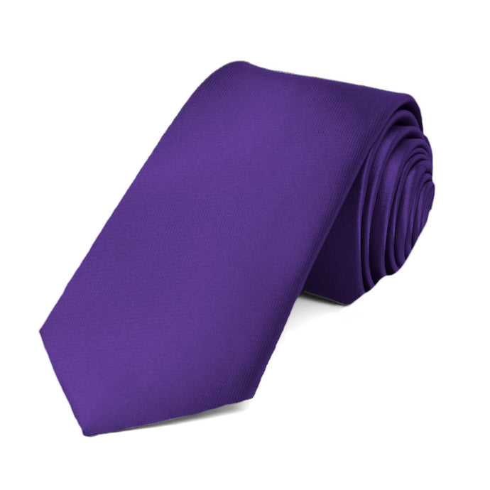 Dark Purple Slim Solid Color Necktie, 2.5
