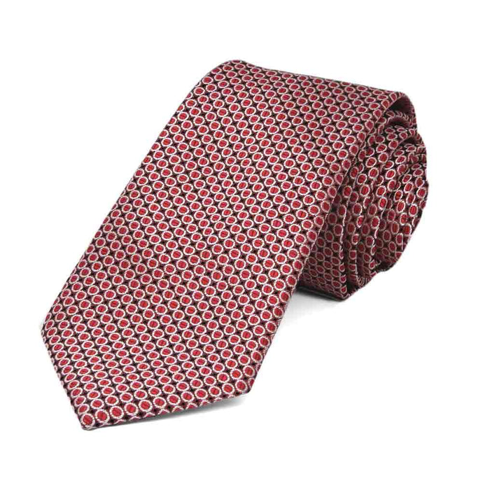 Dark Red Henry Grain Pattern Slim Necktie, 2.5