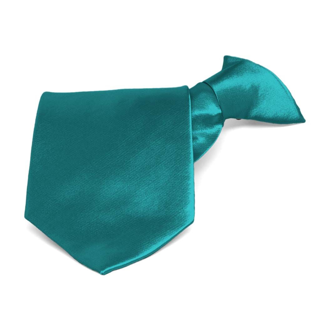 Deep Aqua Solid Color Clip-On Tie