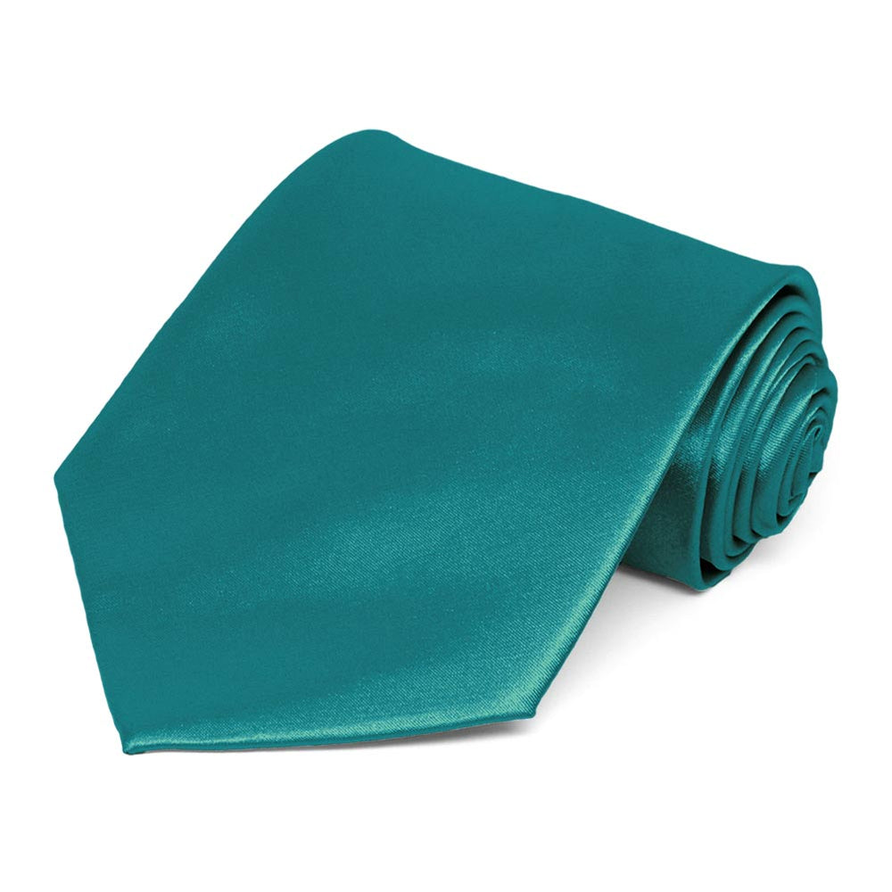 Deep Aqua Extra Long Solid Color Necktie