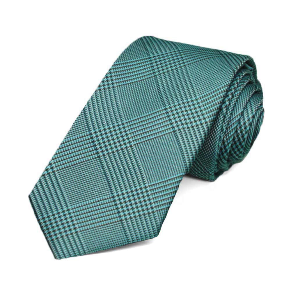 Deep Aqua Jamestown Glen Plaid Slim Necktie