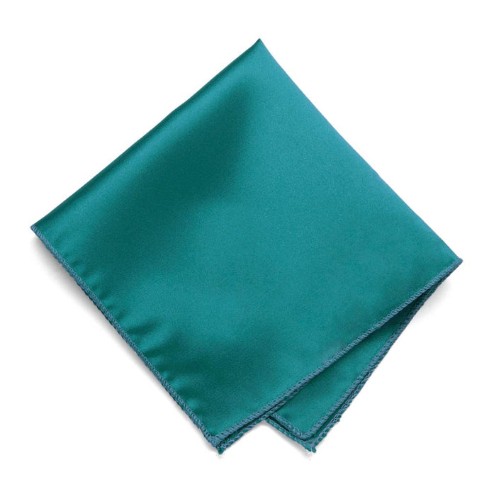 Deep Aqua Solid Color Pocket Square