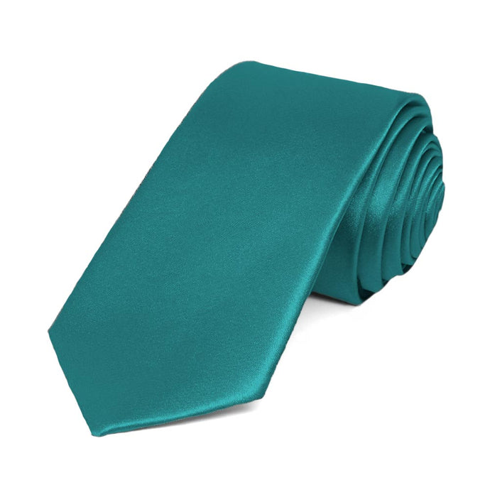 Deep Aqua Slim Solid Color Necktie, 2.5