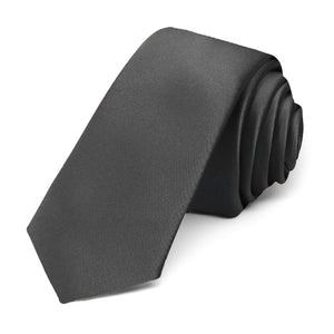 "Rolled thunder gray 2"" skinny tie"