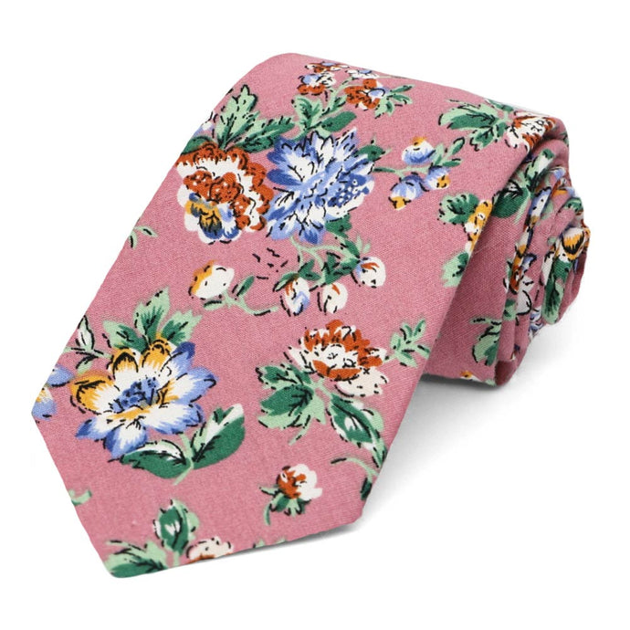 Anaheim Floral Cotton Narrow Necktie
