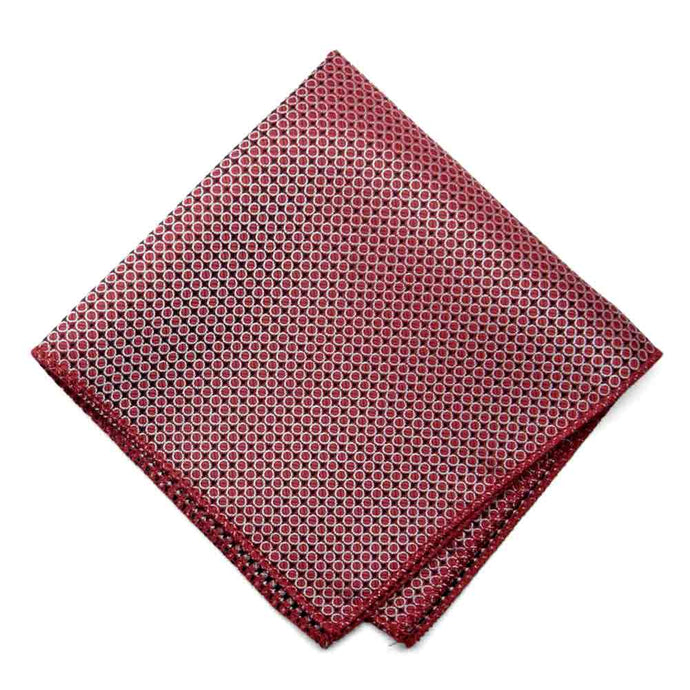 Dark Red Henry Grain Pattern Pocket Square