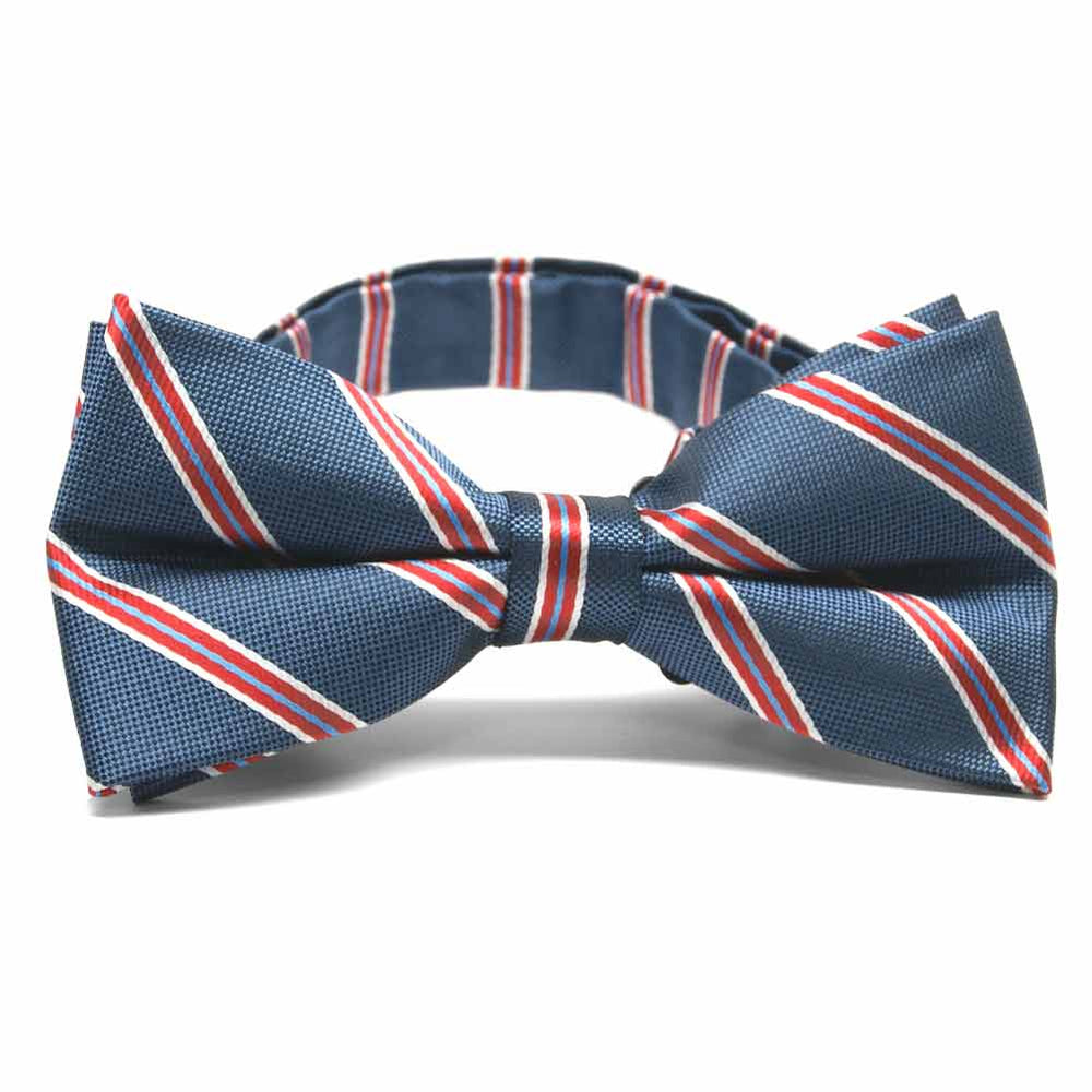 Denim Blue Melvin Stripe Band Collar Bow Tie
