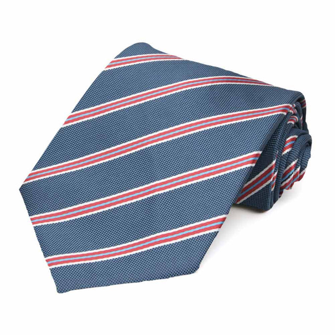 Denim Blue Melvin Stripe Extra Long Necktie