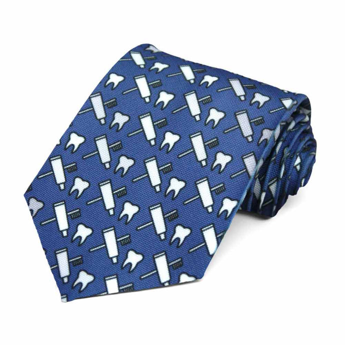 A toothpaste, tooth brush and tooth dentist pattern on a dark blue tie
