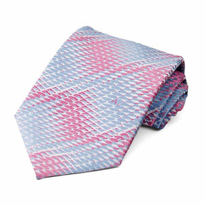 Pink and cornflower blue geometric spring pattern tie