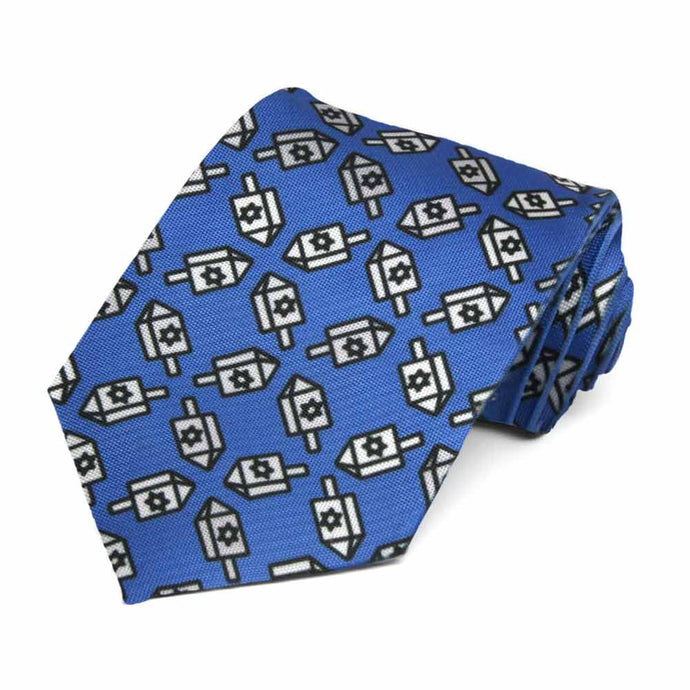 Hanukkah Dreidels cross hatched on a blue tie.