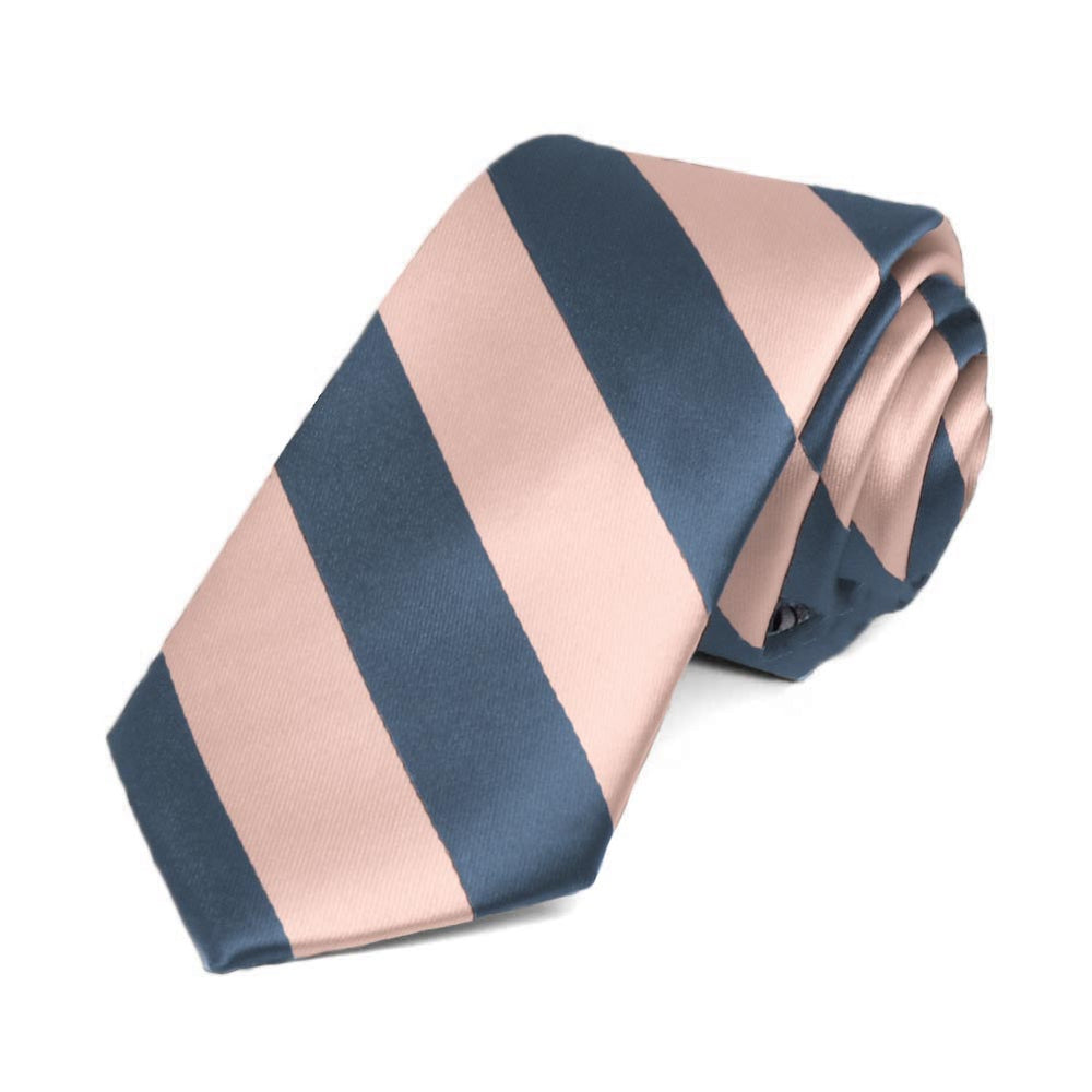 Dusty Blue and Petal Striped Slim Tie, 2.5