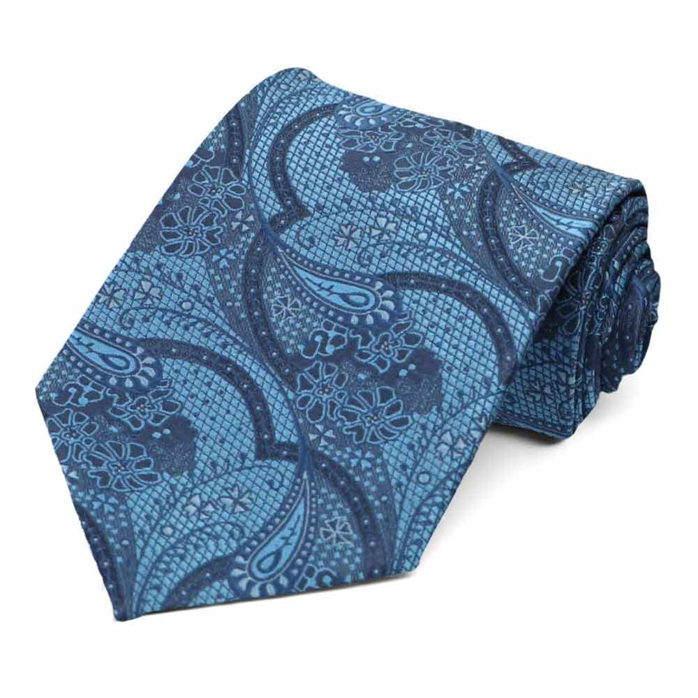 Dusty blue textured paisley tie