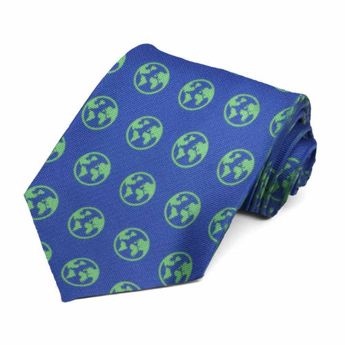A green globe on a blue tie.