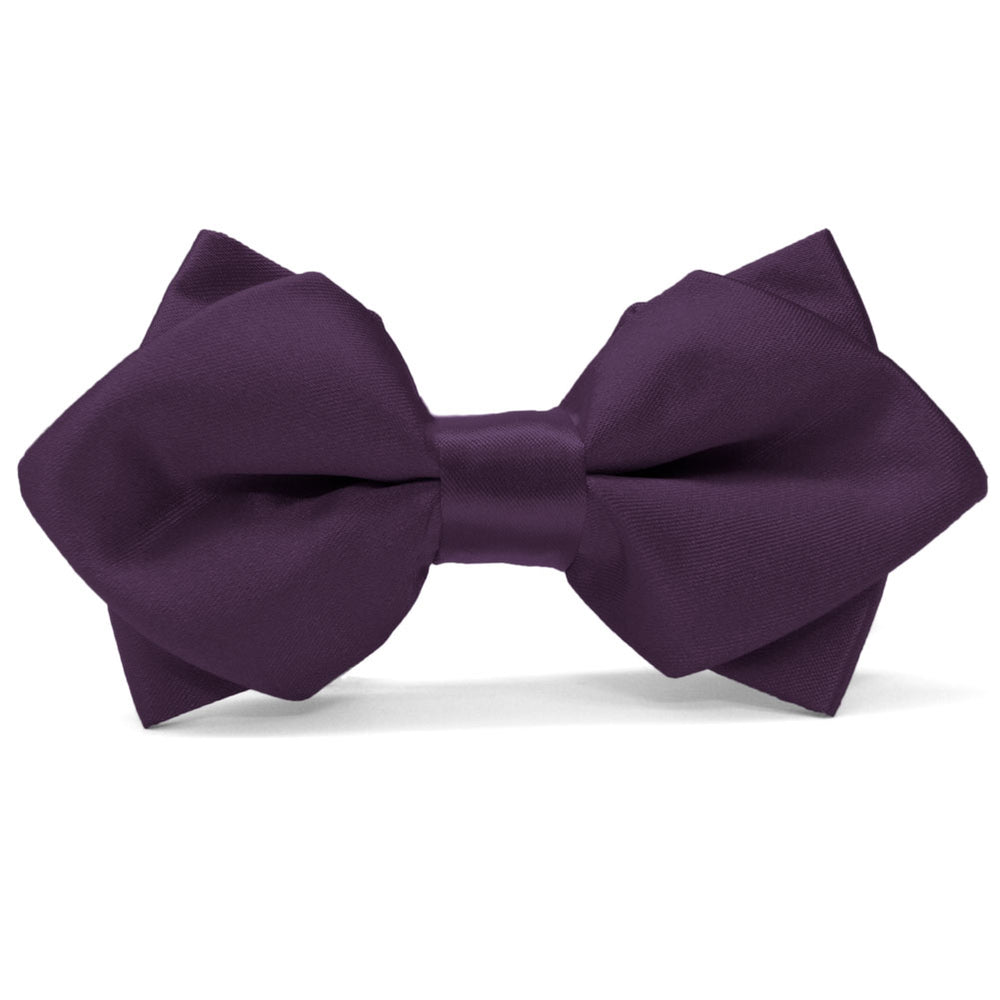 Eggplant Purple Diamond Tip Bow Tie