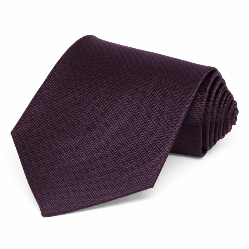 Eggplant Purple Herringbone Silk Necktie