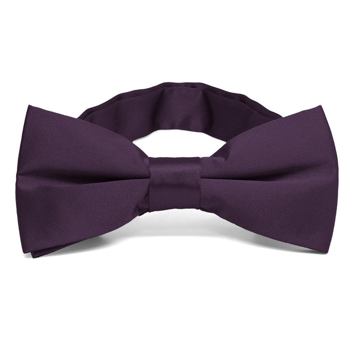 Eggplant Purple Band Collar Bow Tie