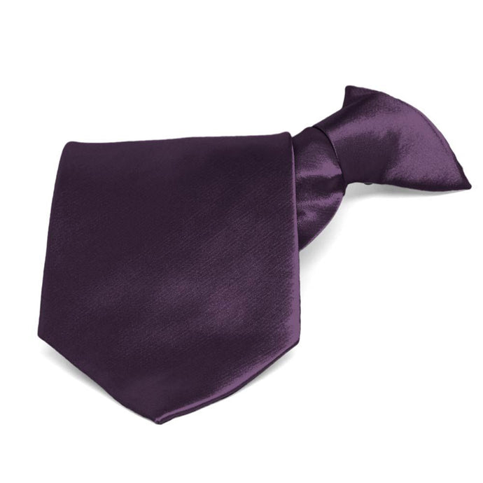 Eggplant Purple Solid Color Clip-On Tie