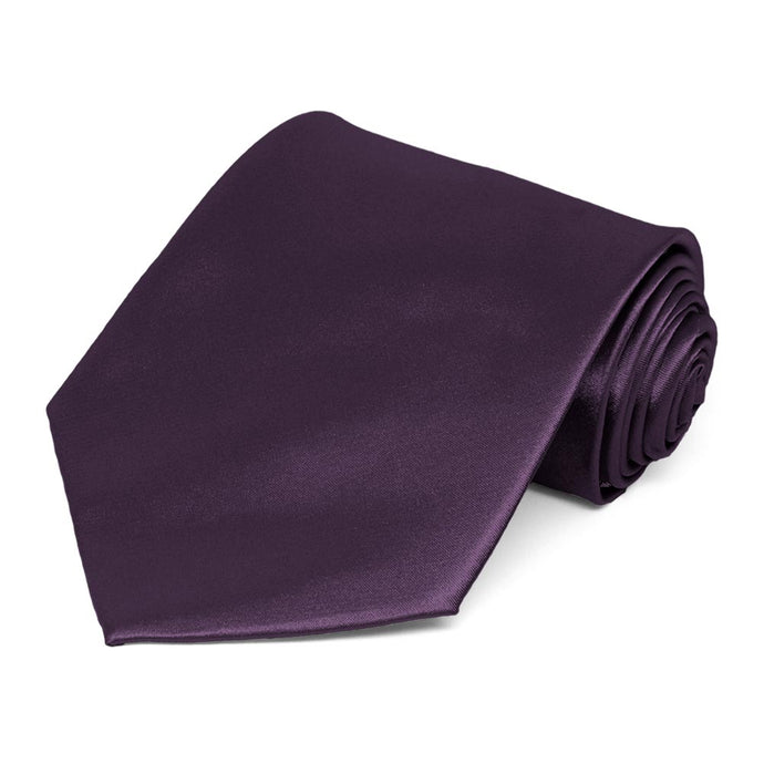 Eggplant Purple Extra Long Solid Color Necktie