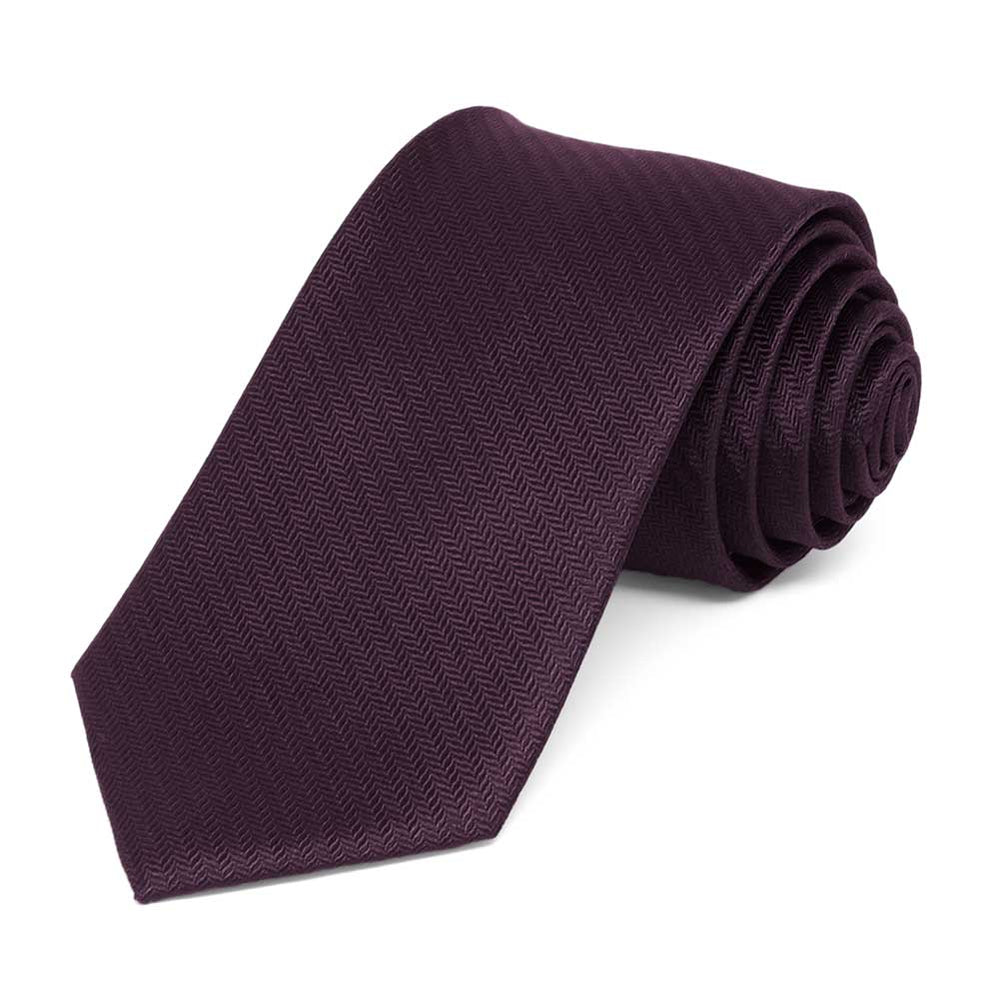Eggplant Purple Herringbone Silk Slim Necktie, 2.5