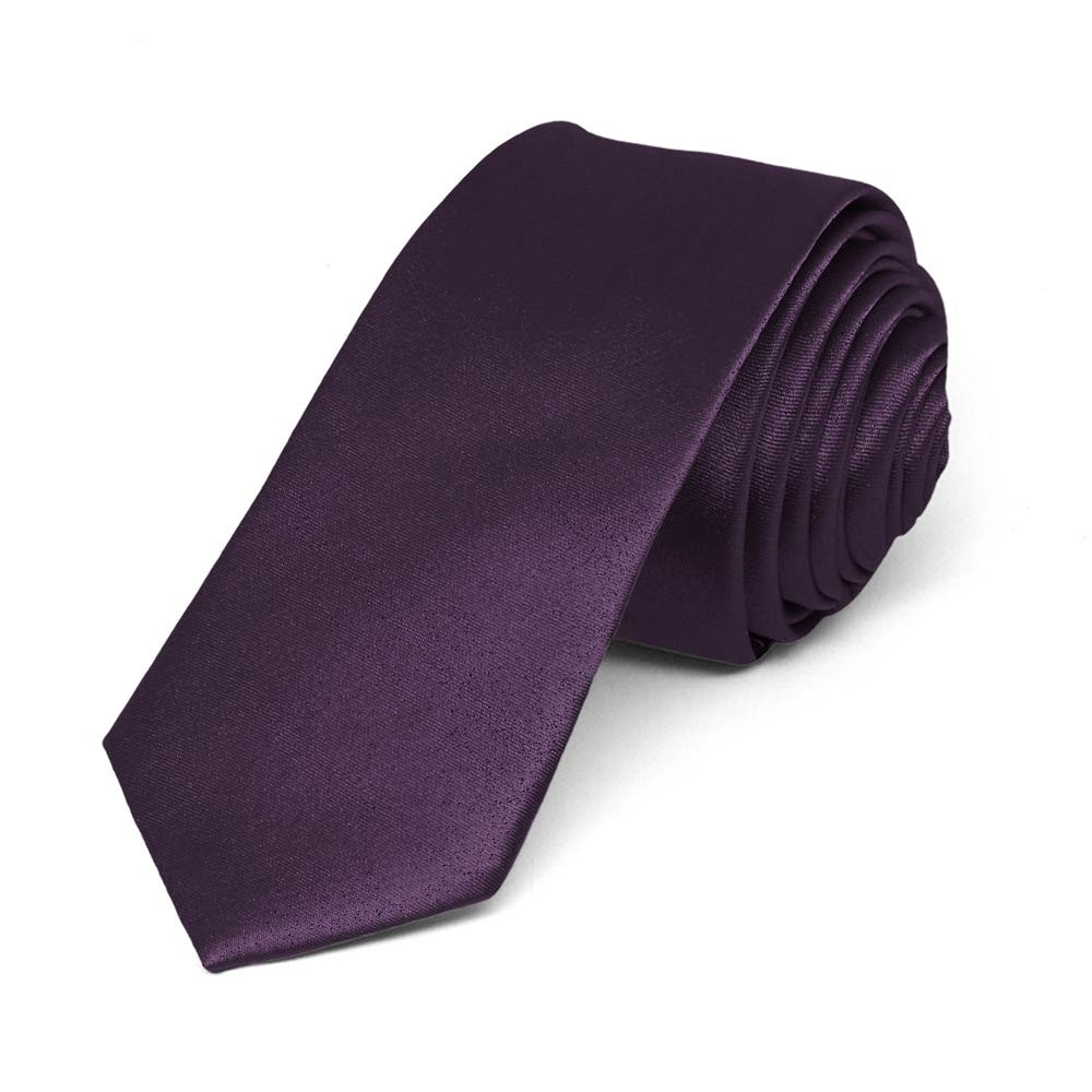 Eggplant Purple Skinny Solid Color Necktie, 2