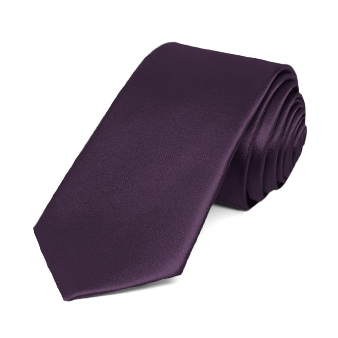 Eggplant Purple Slim Solid Color Necktie, 2.5