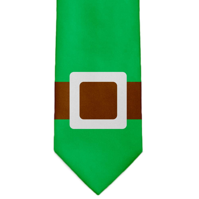 A green elf belt neck tie.