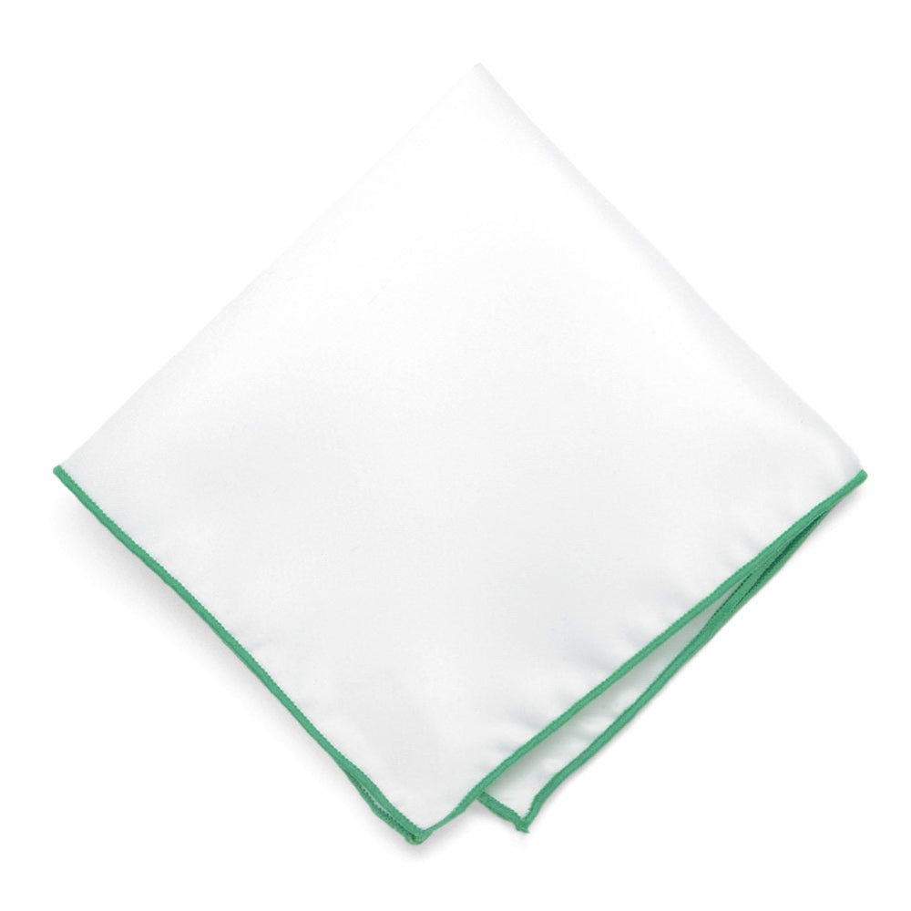 TieMart Emerald Green Tipped White Pocket Square