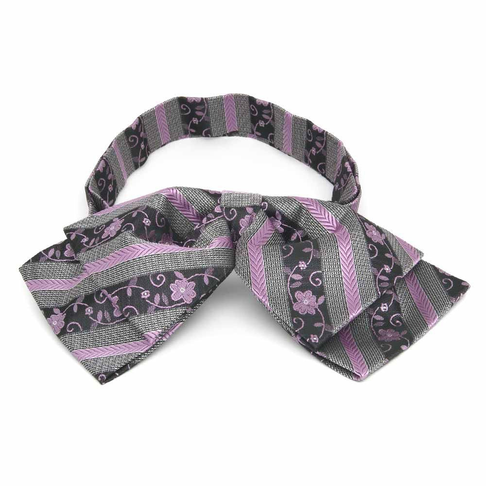 English Lavender Anna Floral Stripe Floppy Bow Tie