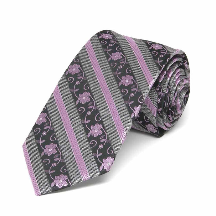 English Lavender Anna Floral Stripe Slim Necktie, 2.5