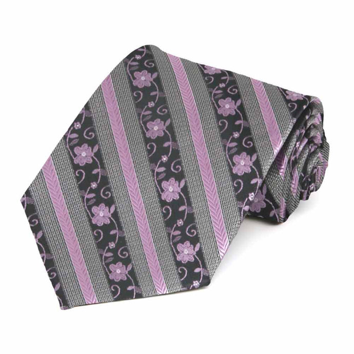 English Lavender Anna Floral Stripe Extra Long Necktie