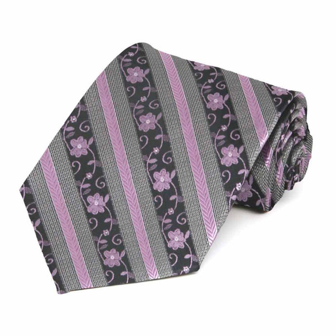 English Lavender Anna Floral Stripe Necktie
