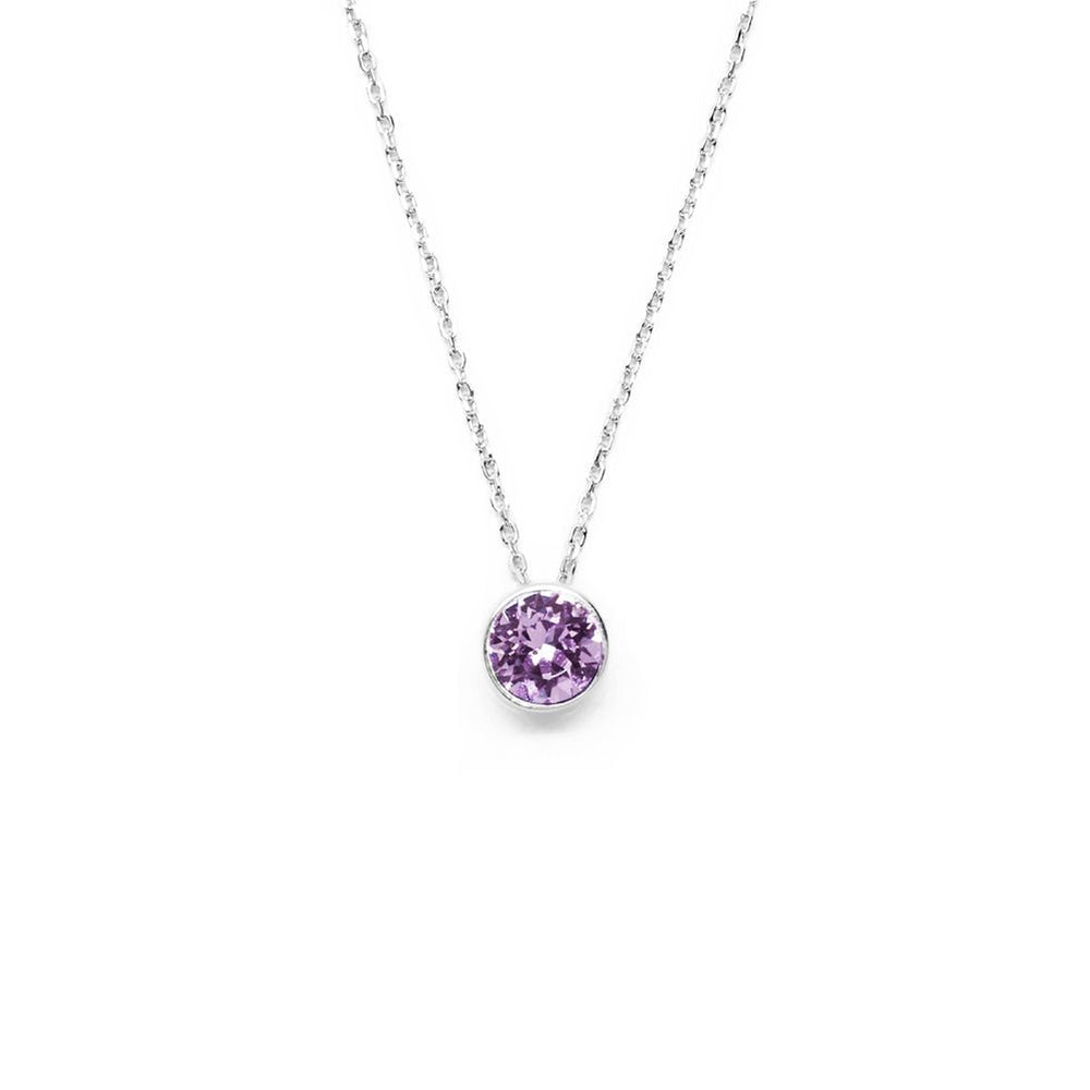 English Lavender Round Crystal Necklace
