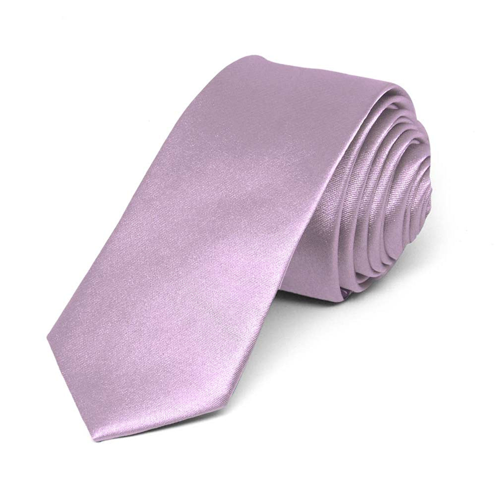 English Lavender Skinny Solid Color Necktie, 2