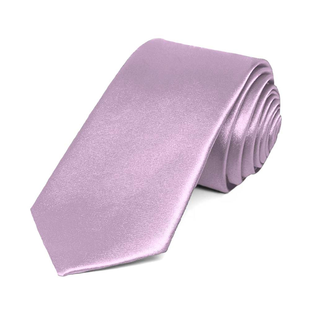 English Lavender Slim Solid Color Necktie, 2.5