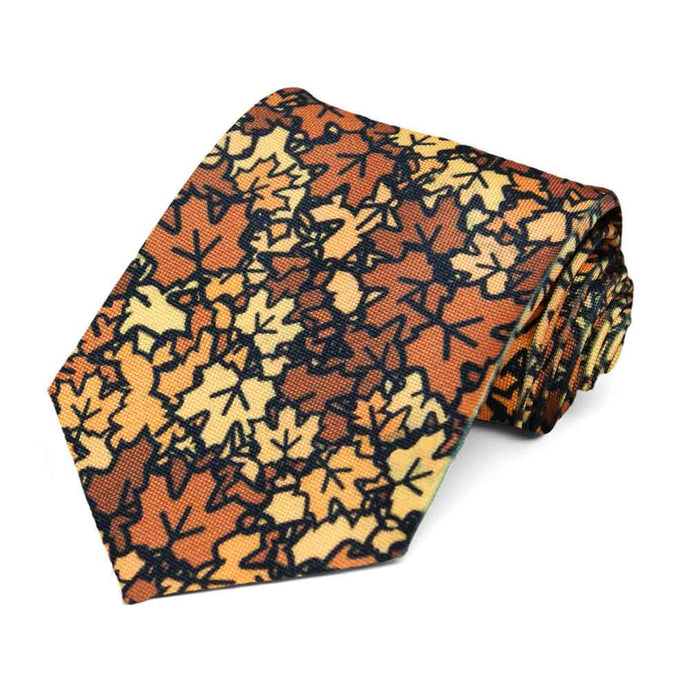 Fall leaves in a random pattern on a tie.
