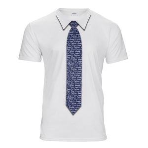 White t-shirt with father names necktie printed
