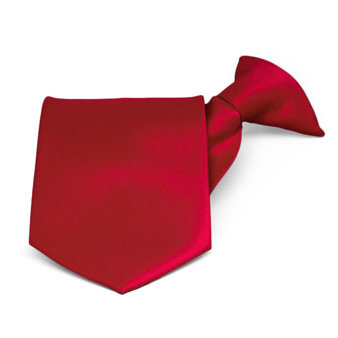 Festive Red Solid Color Clip-On Tie