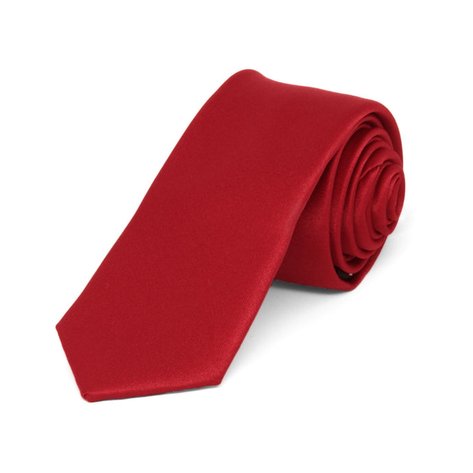 Festive Red Skinny Solid Color Necktie, 2