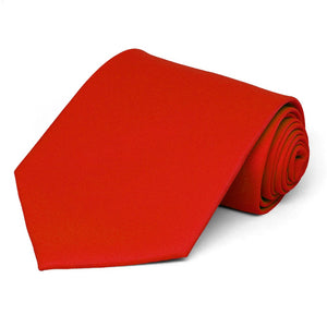 Fire Engine Red Solid Color Necktie