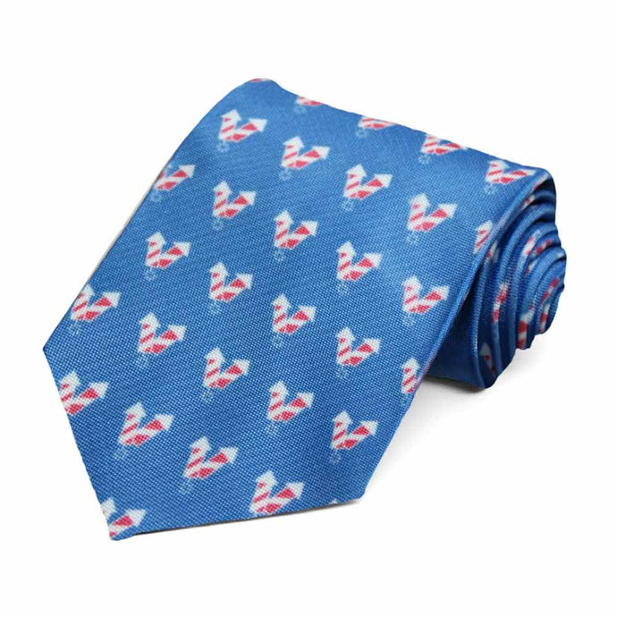 A firecracker pattern on a blue tie.