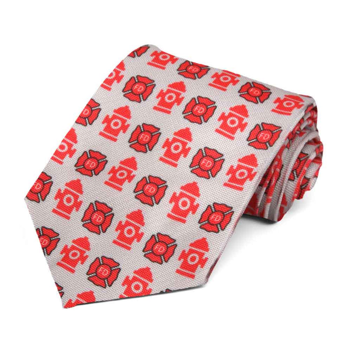 Fire department tiled pattern on a gray tie.