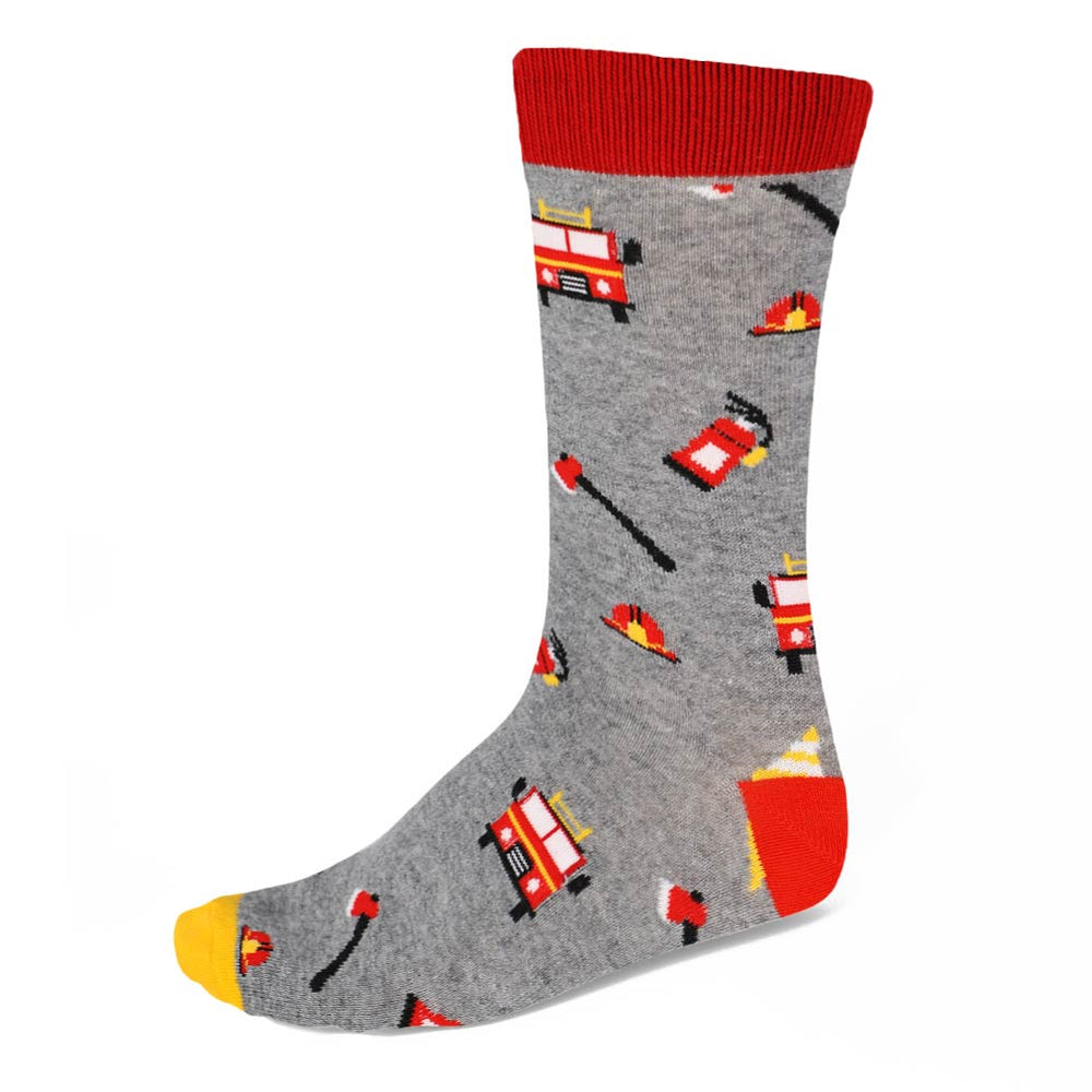 Men's firefighter theme socks on gray background